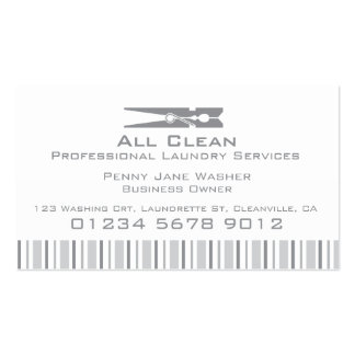 Laundry service grey swing tag / business card