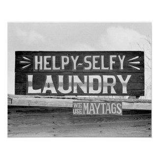 Laundry Sign, 1938. Vintage Photo Poster