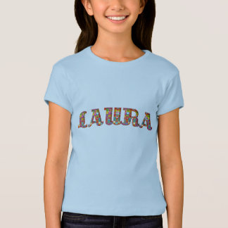 Laura Cute Love Hearts Romantic Typography Girl T-Shirt