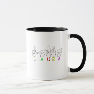 LAURA FINGERSPELLED ASL NAME SIGN FEMALE MUG