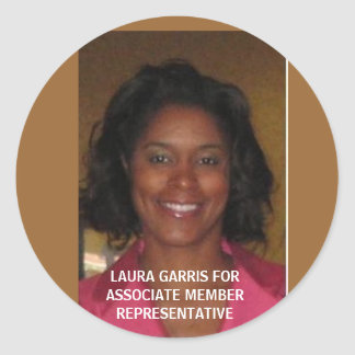 LAURA GARRIS FORASSOCIATE MEMBER REPRESENTATIVE CLASSIC ROUND STICKER