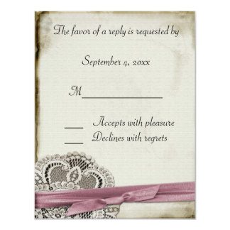 """Laura Lace Pink Vintage Response Card 4.25"""" X 5.5"""" Invitation Card"""