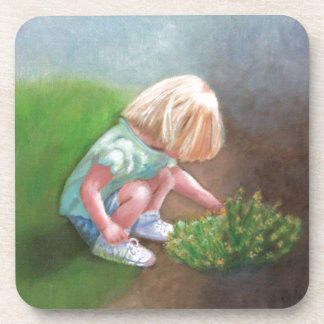 """""""Laura"""" oil painting-little girl picking flowers Drink Coaster"""
