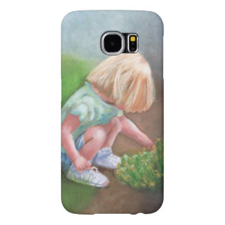 """""""Laura"""" oil painting-little girl picking flowers Samsung Galaxy S6 Cases"""