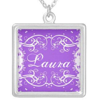 """Laura"" on purple flourish swirls necklace"
