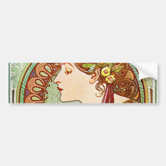Laurel - Alphonse Mucha Bumper Sticker