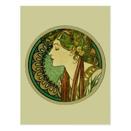 Laurel, Alphonse Mucha Fine Art Nouveau Postcard