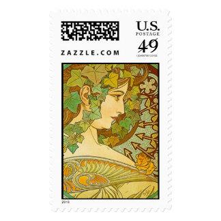 Laurel, Alphonse Mucha - Postage Stamp