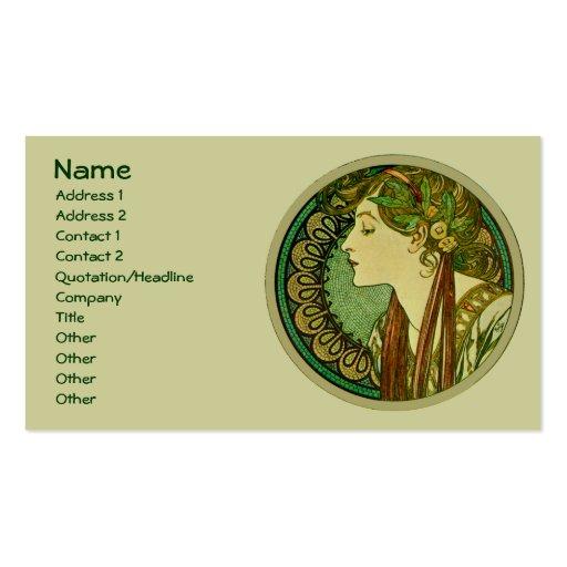 Laurel, Alphonse Mucha Vintage Art Nouveau Double-Sided Standard Business Cards (Pack Of 100)