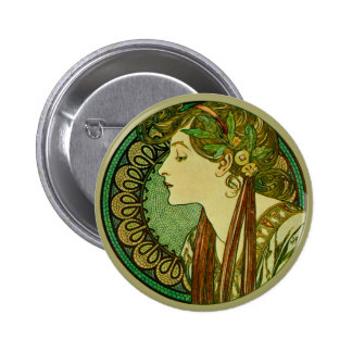 Laurel, Alphonse Mucha Vintage Art Nouveau Button
