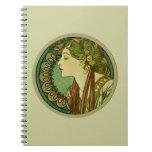 Laurel, Alphonse Mucha Vintage Art Nouveau Notebooks