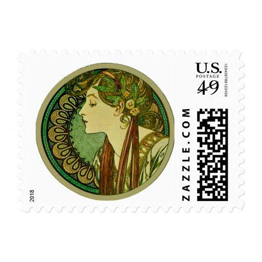 Laurel, Alphonse Mucha Vintage Art Nouveau Postage Stamp