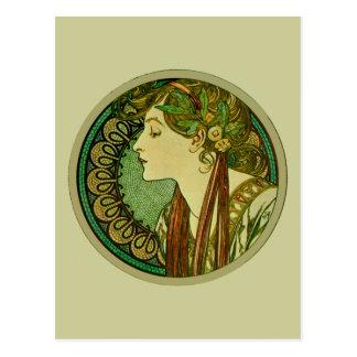 Laurel, Alphonse Mucha Vintage Art Nouveau Postcard