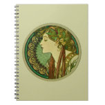 Laurel, Alphonse Mucha Vintage Art Nouveau Spiral Notebook