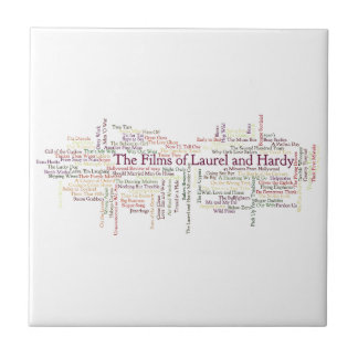Laurel and Hardy Themed Item Small Square Tile