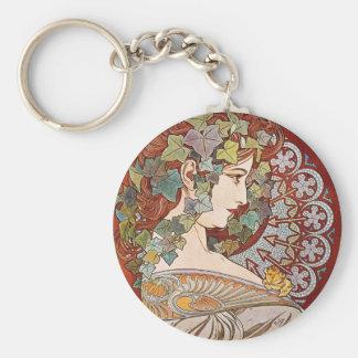 Laurel Art Nouveau Illustration by Alphonse Mucha Keychains