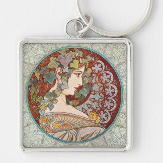 Laurel Art Nouveau Illustration by Alphonse Mucha Keychain