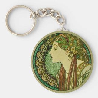 Laurel, arte Nouveau del vintage de Alfonso Mucha Llavero Redondo Tipo Pin