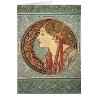 Laurel by Alphonse Mucha art nouveau custom card