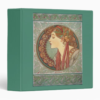 Laurel by artist Alphonse Mucha art nouveau 3 Ring Binder