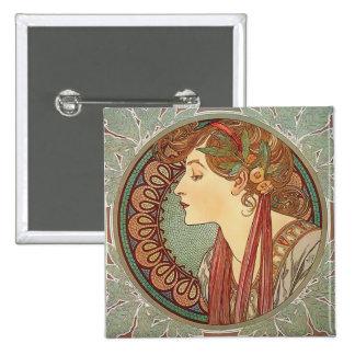 Laurel by artist Alphonse Mucha art nouveau button