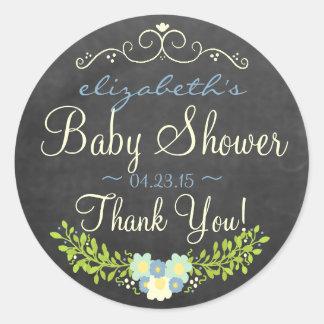 Laurel-Chalkboard Look Baby Shower Classic Round Sticker