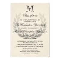 Laurel Crest Monogram Classic College Graduation Card