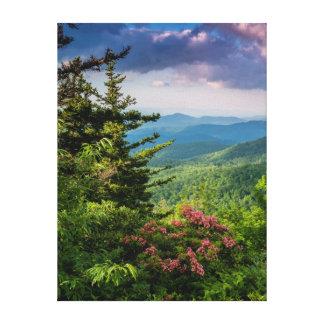 Laurel de montaña en la salida del sol impresión en lona estirada