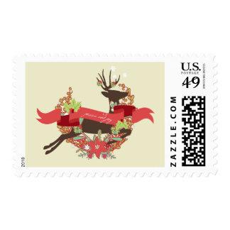 Laurel Deer Peace and Joy Christmas Postage