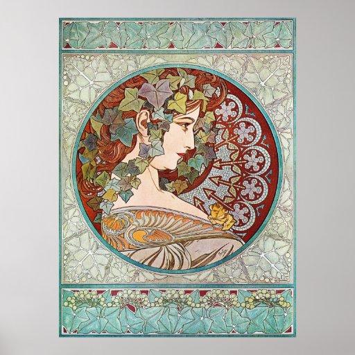 Laurel, ejemplo de Nouveau del arte de Alfonso Muc Poster