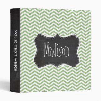 Laurel Green Chevron Stripes; Chalkboard look Binder