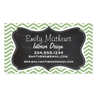 Laurel Green Chevron Stripes; Chalkboard look Double-Sided Standard Business Cards (Pack Of 100)