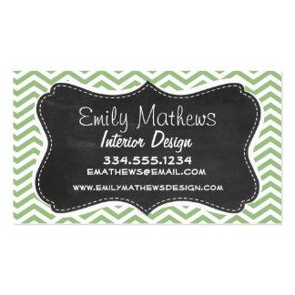 Laurel Green Chevron Stripes; Chalkboard look Business Card