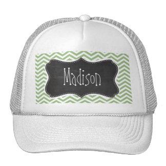 Laurel Green Chevron Stripes; Chalkboard look Trucker Hat