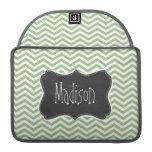 Laurel Green Chevron Stripes; Chalkboard look Sleeve For MacBooks