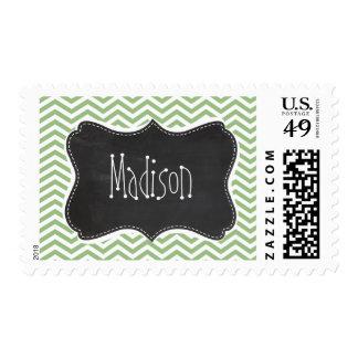 Laurel Green Chevron Stripes; Chalkboard look Postage Stamp