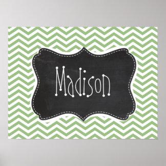 Laurel Green Chevron Stripes; Chalkboard look Poster