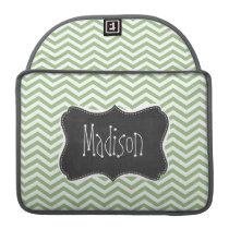 Laurel Green Chevron Stripes; Chalkboard look Sleeve For MacBook Pro