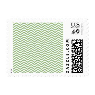 Laurel Green Chevron Stripes Postage