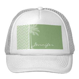 Laurel Green Chevron Stripes; Summer Palm Trucker Hat