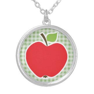 Laurel Green Gingham Apple Necklace