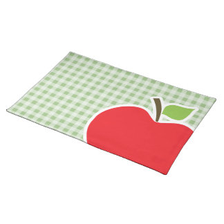 Laurel Green Gingham; Apple Placemat