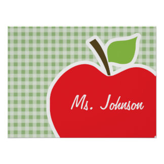 Laurel Green Gingham Apple Posters