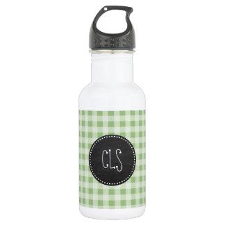 Laurel Green Gingham; Chalkboard look Water Bottle