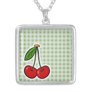 Laurel Green Gingham Cute Cherries Custom Jewelry