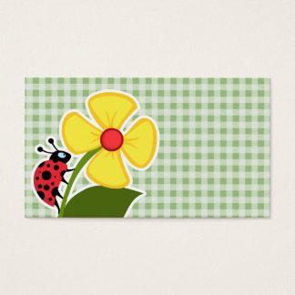 Laurel Green Gingham; Ladybug Business Card