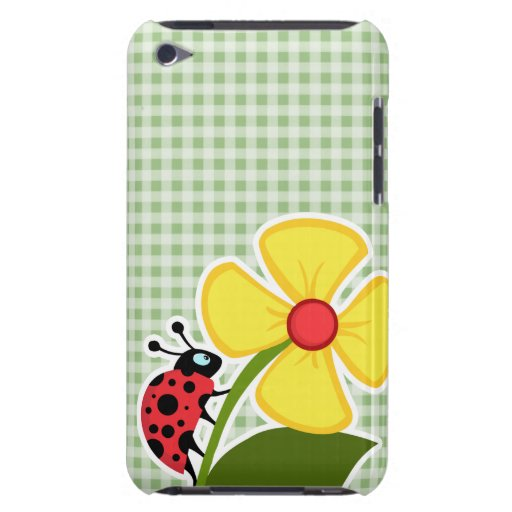 Laurel Green Gingham; Ladybug Barely There iPod Covers