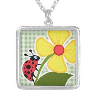 Laurel Green Gingham Ladybug Personalized Necklace