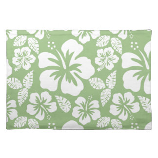 Laurel Green Hawaiian Tropical Hibiscus Cloth Placemat