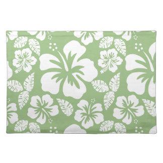 Laurel Green Hawaiian Tropical Hibiscus Cloth Placemat